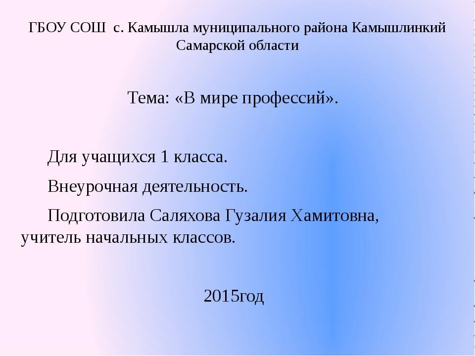 ГБОУ СОШ с. Камышла муниципального района Камышлинкий Самарской области Тема...