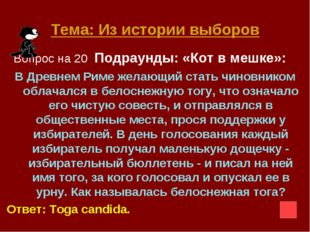 Тема: Из истории выборов Вопрос на 20 Подраунды: «Кот в мешке»: В Древнем Рим