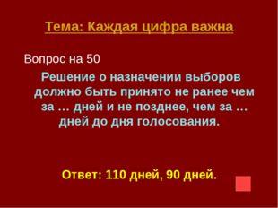 Тема: Каждая цифра важна Вопрос на 50 Решение о назначении выборов должно быт