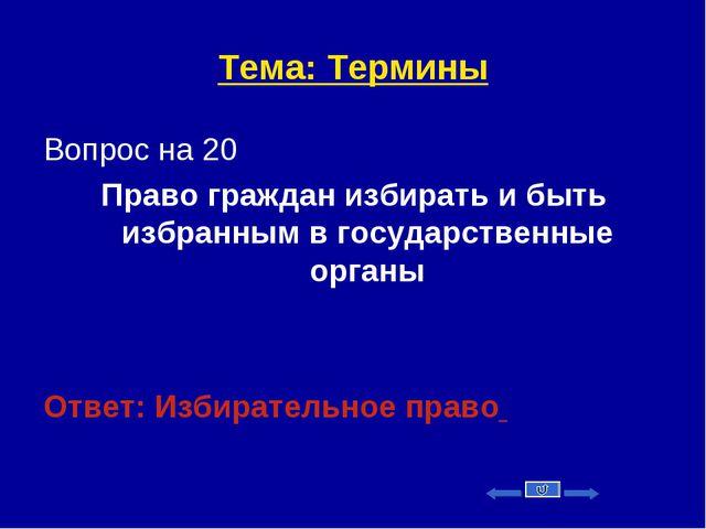 Тема: Термины Вопрос на 20 Право граждан избирать и быть избранным в государс...