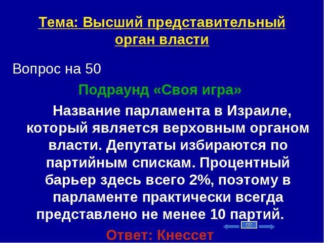 Тема: Высший представительный орган власти Вопрос на 50 Подраунд «Своя игра»...