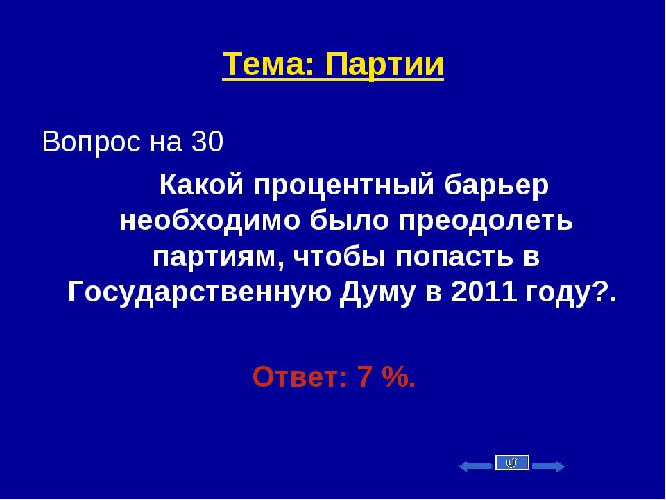 Тема: Партии Вопрос на 30 Какой процентный барьер необходимо было преодолеть...