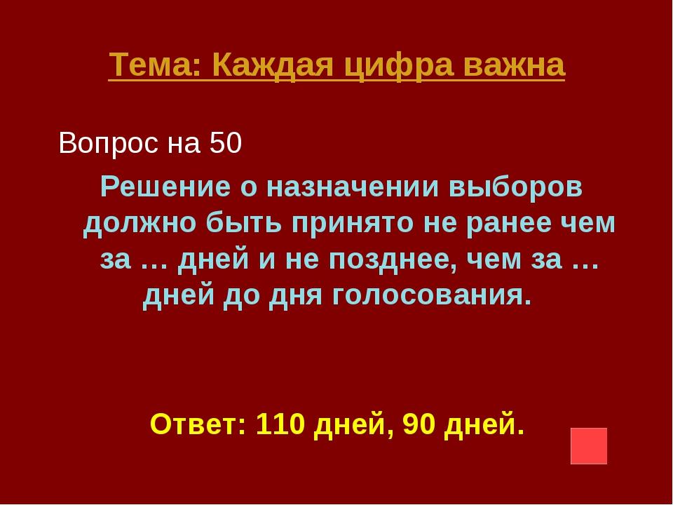 Тема: Каждая цифра важна Вопрос на 50 Решение о назначении выборов должно быт...