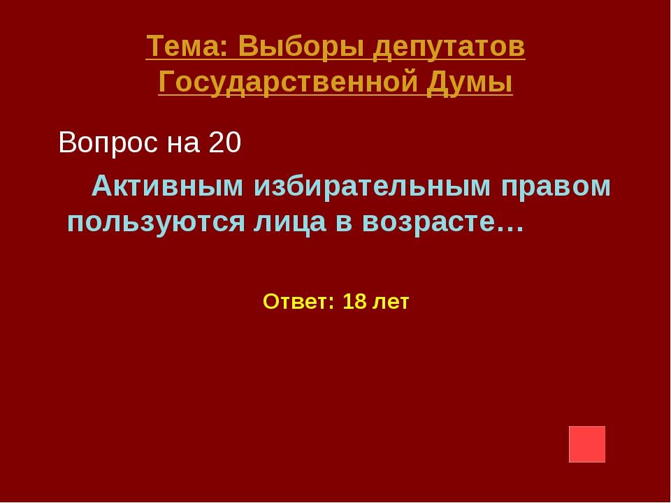 Тема: Выборы депутатов Государственной Думы Вопрос на 20 Активным избирательн...