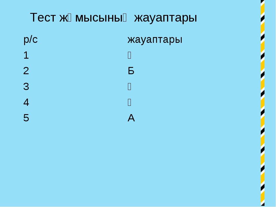 Тест жұмысының жауаптары р/сжауаптары 1Ә 2Б 3Ә 4Ә 5А
