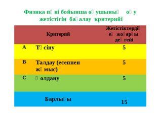 Физика пәні бойынша оқушының оқу жетістігін бағалау критерийі Критерий Жетіст