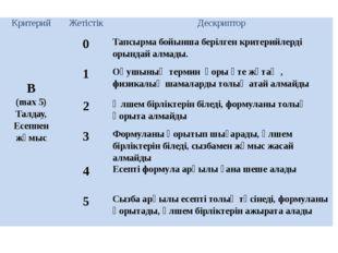 Критерий Жетістік Дескриптор В (max5) Талдау, Есеппенжұмыс 0 Тапсырмабойыншаб