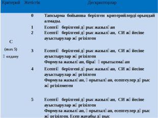 Критерий Жетістік Дескрипторлар С (max5) Қолдану 0 Тапсырма бойынша берілген