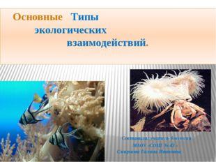 Основные Типы экологических взаимодействий. Составила: учитель биологии МАОУ