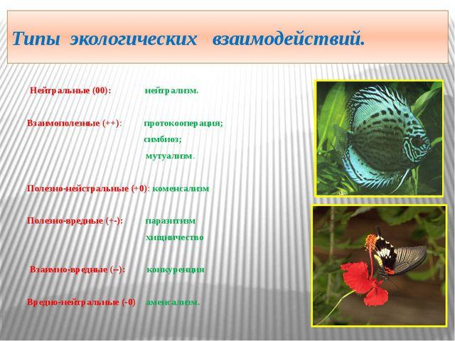 Типы экологических взаимодействий. Нейтральные (00): нейтрализм. Взаимополезн...