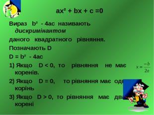 ах² + bх + с =0 Вираз b² - 4ас називають дискримінантом даного квадратного рі