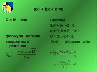 ах² + bх + с =0 D = b² - 4ас формула коренів квадратного рівняння Приклад 3х²