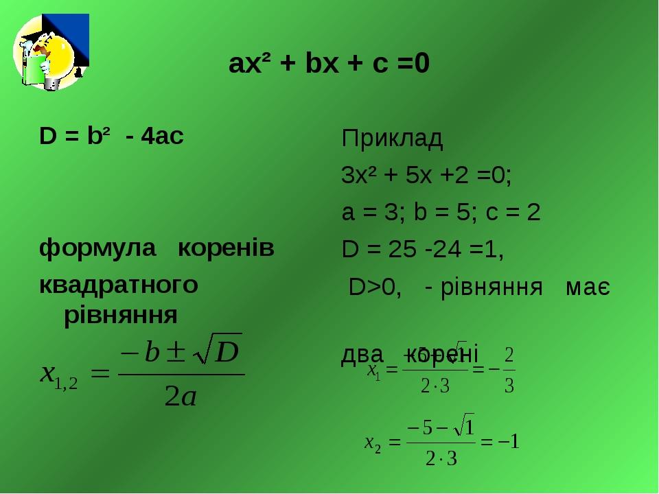 ах² + bх + с =0 D = b² - 4ас формула коренів квадратного рівняння Приклад 3х²...