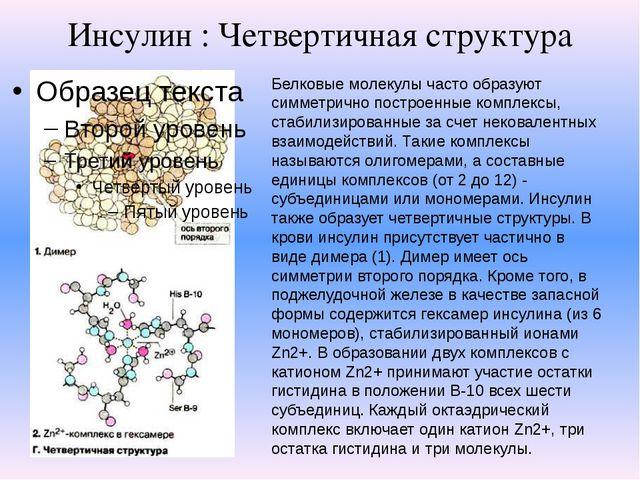 Инсулин : Четвертичная структура Белковые молекулы часто образуют симметрично...