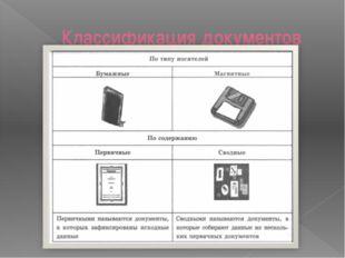 Классификация документов Цели обучения и ожидаемые умения и навыки, вырабатыв