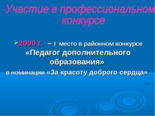 2000 г. – I место в районном конкурсе «Педагог дополнительного образования» в