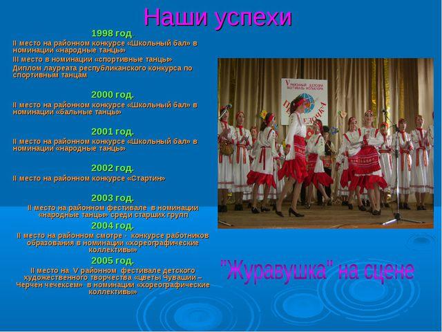 Наши успехи 1998 год. II место на районном конкурсе «Школьный бал» в номинаци...