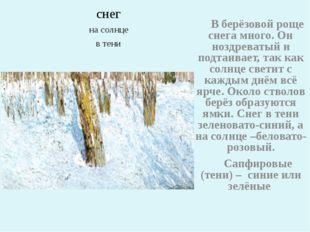 снег на солнце в тени В берёзовой роще снега много. Он ноздреватый и подтаив