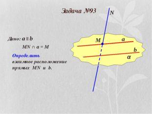 Задача №93 α a b М N Дано: a || b MN ∩ a = M Определить взаимное расположение