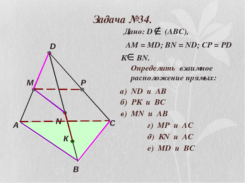 Задача №34. А В С D M N P К Дано: D (АВС), АМ = МD; ВN = ND; CP = PD К ВN. Оп...