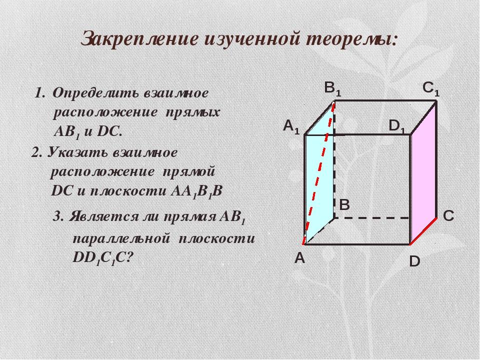 Закрепление изученной теоремы: Определить взаимное расположение прямых АВ1 и...