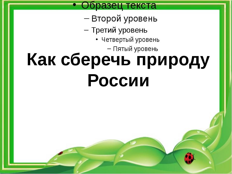 Как сберечь природу России