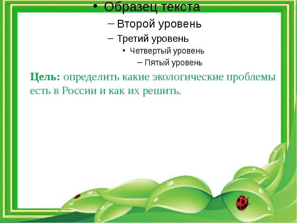 Цель: определить какие экологические проблемы есть в России и как их решить.