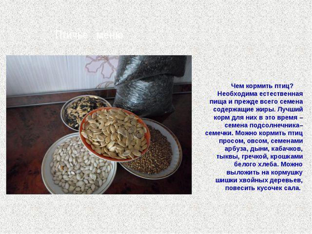 Птичье меню Чем кормить птиц? Необходима естественная пища и прежде всего се...
