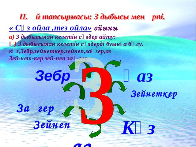 « Сөз ойла ,тез ойла» ойыны а) З дыбысынан келетін сөздер айту: Ә) З дыбысына...