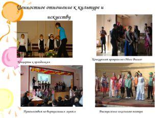Ценностное отношение к культуре и искусству Концерты к праздникам Конкурсная