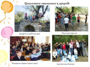 Ценностное отношение к природе Школьный турслет Экологические десанты Экскурс