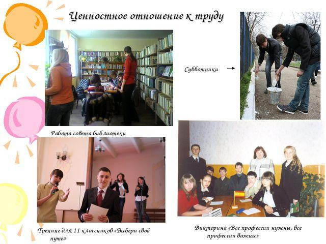 Ценностное отношение к труду Работа совета библиотеки Субботники Викторина «В...