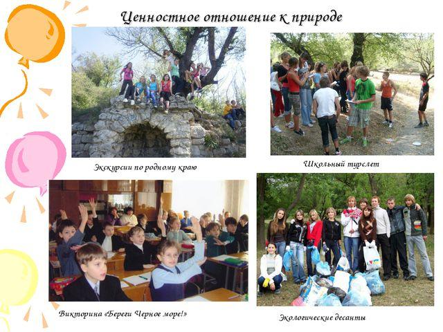 Ценностное отношение к природе Школьный турслет Экологические десанты Экскурс...