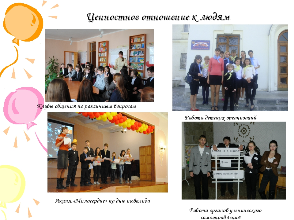 Ценностное отношение к людям Клубы общения по различным вопросам Работа детск...