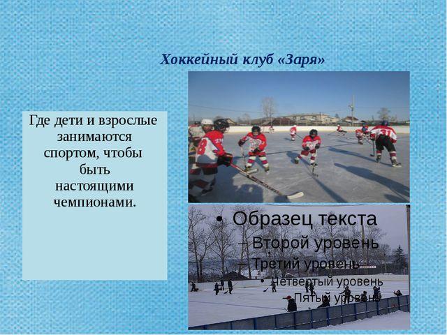 Хоккейный клуб «Заря» Где дети и взрослыезанимаются спортом,чтобы быть насто...