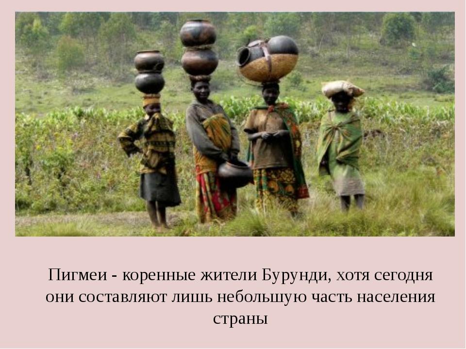 Пигмеи - коренные жители Бурунди, хотя сегодня они составляют лишь небольшую...