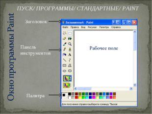 Заголовок Панель инструментов Палитра Рабочее поле ПУСК/ ПРОГРАММЫ/ СТАНДАРТН