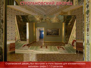 Строгановский дворец был выстроен в стиле барокко для елизаветинского вельмож