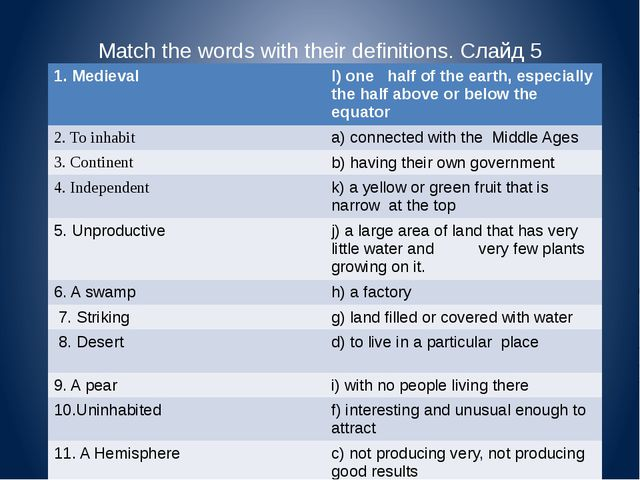 Match the words with their definitions. Слайд 5 1. Medieval l) one half of th...