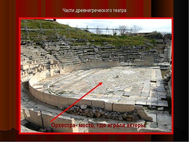 Части древнегреческого театра Орхестра- место, где играли актеры