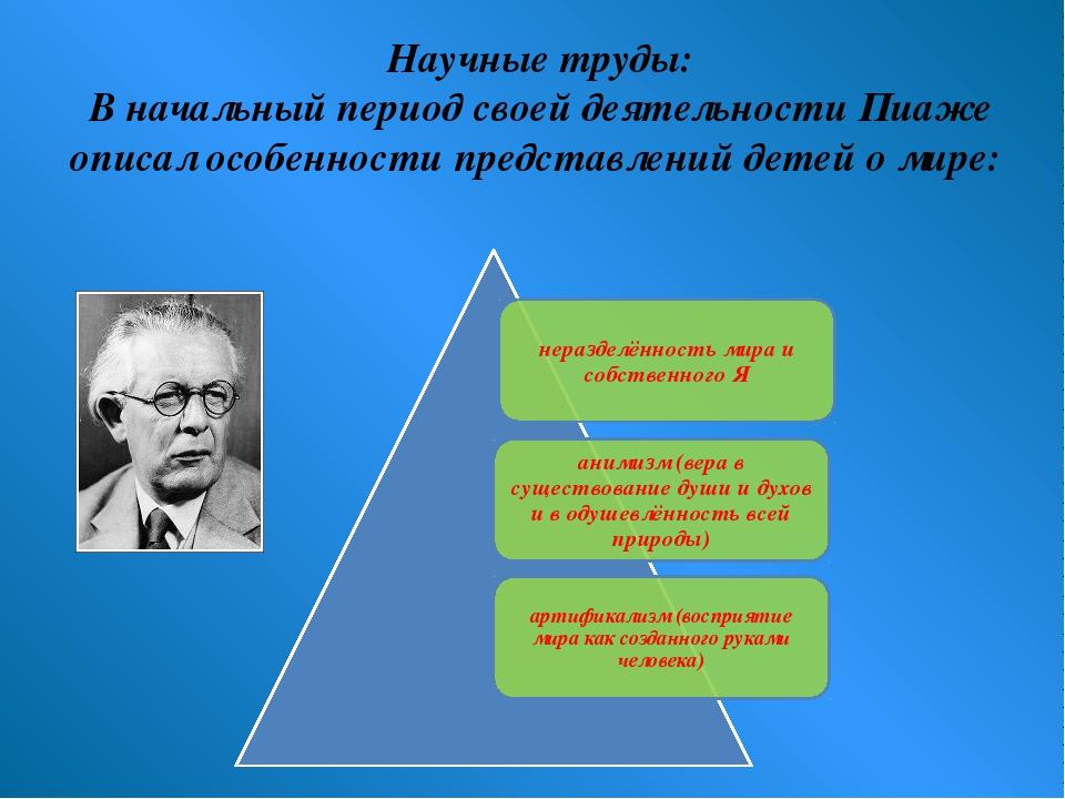 Научные труды: В начальный период своей деятельности Пиаже описал особенности...