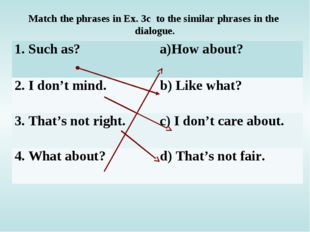 Match the phrases in Ex. 3c to the similar phrases in the dialogue. 1. Such a