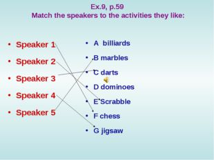 Ex.9, p.59 Match the speakers to the activities they like: Speaker 1 Speaker
