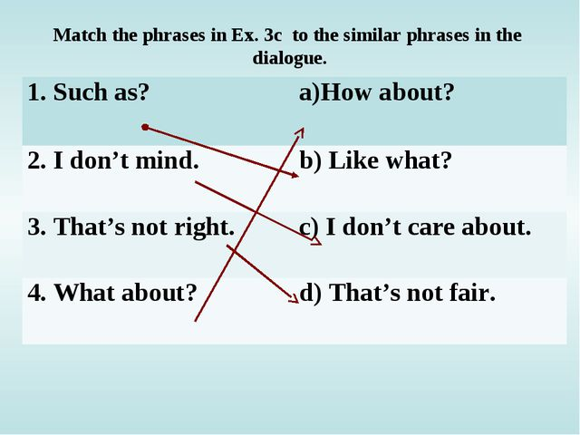 Match the phrases in Ex. 3c to the similar phrases in the dialogue. 1. Such a...
