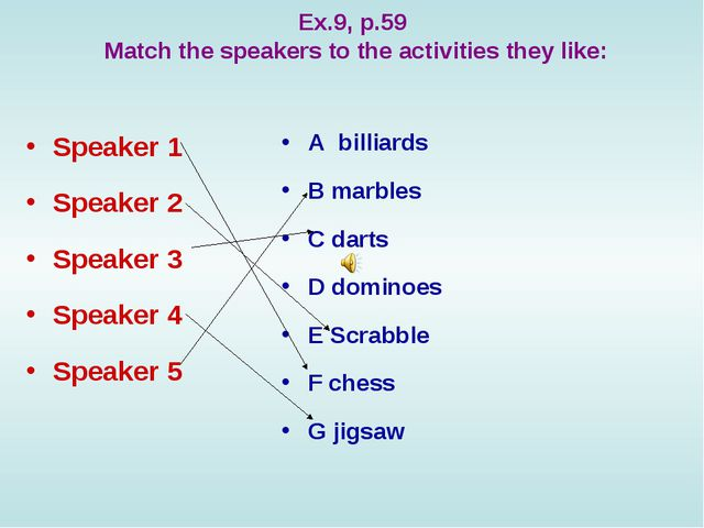 Ex.9, p.59 Match the speakers to the activities they like: Speaker 1 Speaker...