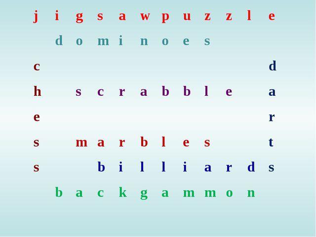 jigsawpuzzle dominoes cd hscrabble...