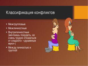 Классификация конфликтов Межгрупповые Межличностные Внутриличностные (мечтаеш