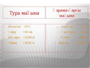 Тура мағына Қарама-қарсы мағына Жылулық +5°С Ұзару +40 см Жоғары +2340 м Пай