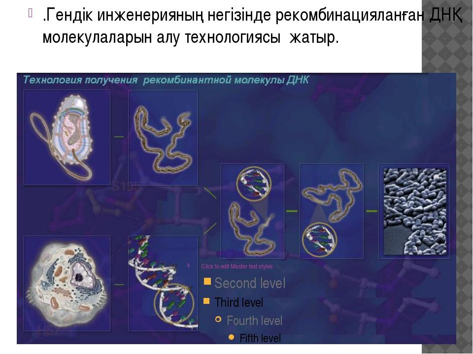 .Гендік инженерияның негізінде рекомбинацияланған ДНҚ молекулаларын алу техно...
