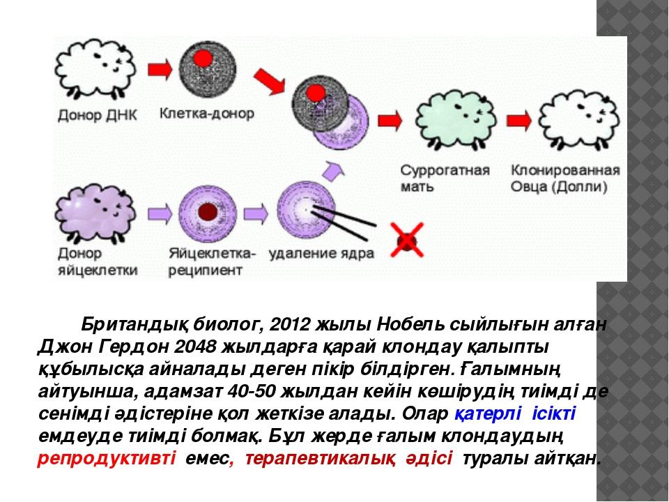 Британдық биолог, 2012 жылы Нобель сыйлығын алған Джон Гердон 2048 жылдарға...